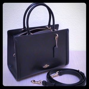 Coach Small Zoe Carryall Satchel Black Leather New